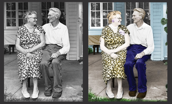 Elderly Couple Before and After Color
